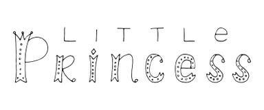 Pequeña princesa Cita de las letras de la mano Imagen de archivo libre de regalías