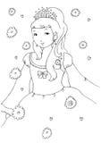 Pequeña princesa Coloring Page Imagen de archivo libre de regalías