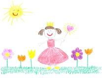 Pequeña princesa con las flores hermosas Imagen de archivo