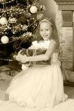 Pequeña princesa con un regalo por el árbol de navidad Fotos de archivo libres de regalías