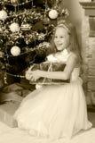 Pequeña princesa con un regalo por el árbol de navidad Fotografía de archivo libre de regalías