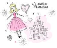 Pequeña princesa en las nubes stock de ilustración