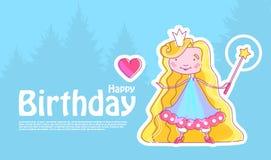 Pequeña princesa feliz Birthday Card Template con la muchacha de hadas con la corona, la vara mágica y el corazón rosado Ilustrac Imágenes de archivo libres de regalías