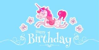 Pequeña princesa feliz Birthday Card Template con unicornio mágico, las flores y los remolinos Ilustración del vector Fotos de archivo libres de regalías