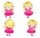 Pequeña princesa linda en 4 variaciones ilustración del vector