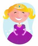 Pequeña princesa linda en alineada rosada con la tiara ilustración del vector