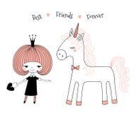 Pequeña princesa linda y unicornio stock de ilustración