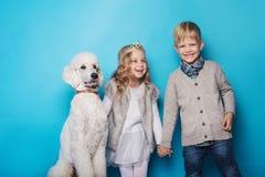 Pequeña princesa y muchacho hermoso con el caniche real Amor Amistad Familia Retrato del estudio sobre fondo azul Fotos de archivo libres de regalías