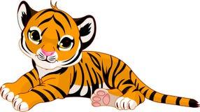Pequeña reclinación del cachorro de tigre stock de ilustración