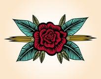 Pequeña Rose Tattoo Style Imagenes de archivo