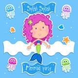 Pequeña sirena preciosa y sus amigos del océano stock de ilustración