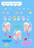 Pequeña sirena preciosa y sus amigos del océano libre illustration