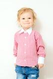 Pequeña sonrisa rubia del muchacho Fotografía de archivo libre de regalías