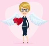 Pequeña tarjeta de felicitación linda de la tarjeta del día de San Valentín del ángel Foto de archivo libre de regalías