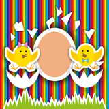 Pequeña tarjeta de felicitación linda del cumpleaños del pollo stock de ilustración