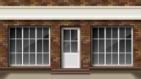 Pequeña tienda 3d del ladrillo o fachada delantera del boutique Tienda vacía exterior del boutique con la ventana grande Maqueta  stock de ilustración