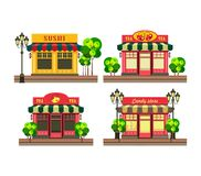 Pequeña tienda local stock de ilustración