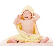 Pequeña toalla del amarillo del woth del bebé Imagenes de archivo