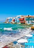 Pequeña Venecia en la isla Grecia de Mykonos fotos de archivo libres de regalías