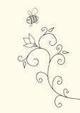 Pequeñas abeja y flor divertidas Imágenes de archivo libres de regalías