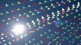 Pequeñas banderas que agitan triangulares almacen de metraje de vídeo