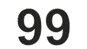 Pequeñas bolas negras que forman el número 99