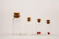 Pequeñas botellas de cristal con la pimienta roja Fotografía de archivo