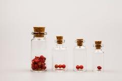 Pequeñas botellas de cristal con la pimienta roja Fotos de archivo libres de regalías