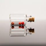 Pequeñas botellas de cristal con la pimienta roja Fotografía de archivo libre de regalías