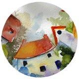 Pequeñas casas en un círculo fotos de archivo libres de regalías
