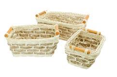 Pequeñas cestas de mimbre Fotografía de archivo