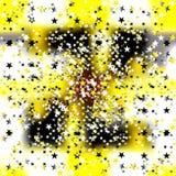Pequeñas estrellas coloreadas en un fondo amarillo ilustración del vector