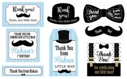 Pequeñas etiquetas del partido de fiesta de bienvenida al bebé de la fiesta de cumpleaños del hombre Gracias favorecer la tarjeta Fotos de archivo libres de regalías