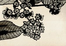 Pequeñas flores con las hojas - dibujo de la tinta libre illustration