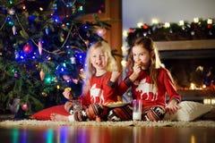 Pequeñas hermanas felices que comen leche y galletas por una chimenea en una sala de estar oscura acogedora el Nochebuena Fotografía de archivo