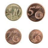 Pequeñas monedas euro Foto de archivo