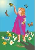 Pequeñas muchacha y mariposas Fotos de archivo libres de regalías