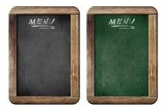 Pequeñas pizarras o pizarras viejas del menú con la trayectoria de recortes Imagen de archivo libre de regalías