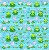Pequeñas ranas verdes en estilo de la historieta Fotos de archivo