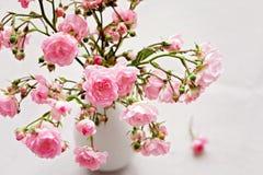 Pequeñas rosas rosadas en un florero, fondo de la textura Foto de archivo