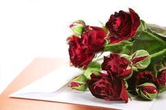 Pequeñas rosas y tarjeta Imagen de archivo libre de regalías