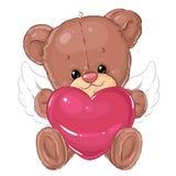Pequeño ángel lindo del oso de peluche con el corazón rosado grande Tarjeta de felicitación Día del `s de la tarjeta del día de S Imágenes de archivo libres de regalías
