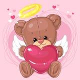 Pequeño ángel lindo del oso de peluche con el corazón rosado grande Tarjeta de felicitación Día del `s de la tarjeta del día de S Fotos de archivo