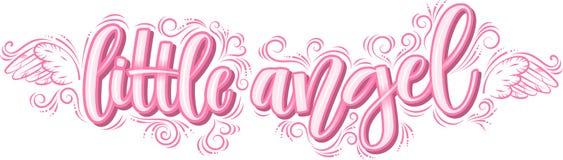 Pequeño ángel que pone letras en la inscripción rosada aislada en el fondo blanco ilustración del vector