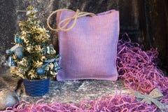 Pequeño árbol de navidad en el fondo para las postales y los saludos Fotos de archivo libres de regalías