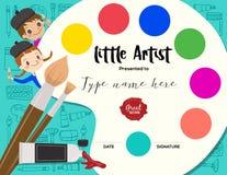 Pequeño artista, plantilla del certificado del curso de la pintura del diploma de los niños stock de ilustración