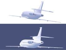 Pequeño avión de pasajeros que vuela Visión trasera Ilustración del vector Imágenes de archivo libres de regalías