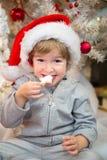 Pequeño ayudante de Santas que come las galletas de la Navidad Imagen de archivo