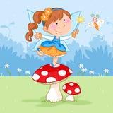 Pequeño baile de hadas feliz en la seta roja y la mariposa preciosa stock de ilustración