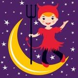 Pequeño baile lindo del diablo en la luna Fotografía de archivo libre de regalías